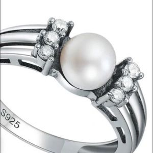 🆕S925 Freshwater Pearl with 6AAA Cz Ring Size 6.5